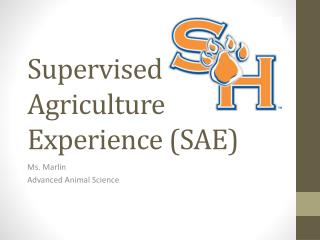 Supervised Agriculture Experience (SAE)
