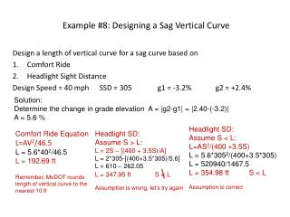 Example #8: Designing a Sag Vertical Curve