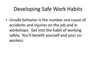Developing Safe Work Habits
