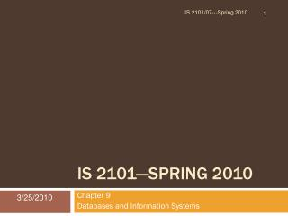 IS 2101—Spring 2010