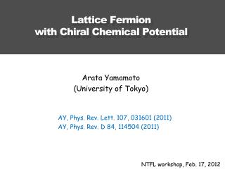 Lattice Fermion with Chiral  C hemical Potential