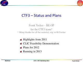CTF3 – Status and Plans