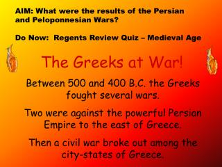 The Greeks at War!