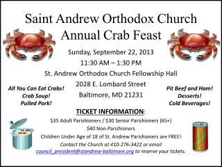 Saint Andrew Orthodox Church Annual Crab Feast