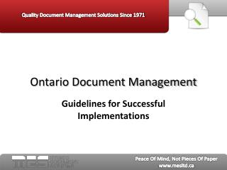 Ontario Document Management:  Guidelines for Successful Impl