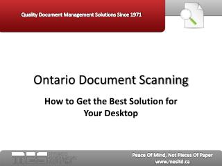 Ontario Document Scanning: How to Get the Best Solution for
