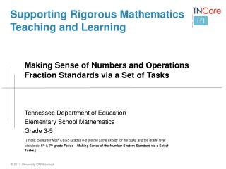 Supporting Rigorous Mathematics Teaching and Learning Making Sense of  Numbers and Operations