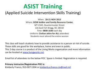 ASIST Training  (Applied Suicide Intervention Skills Training)