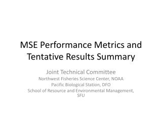 MSE Performance Metrics and Tentative Results Summary
