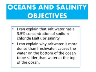 OCEANS AND SALINITY OBJECTIVES