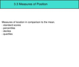 3.3 Measures of Position