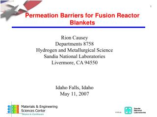 Permeation Barriers for Fusion Reactor Blankets
