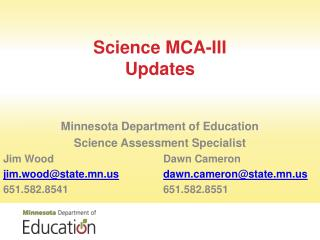 Science MCA-III Updates
