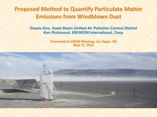 Proposed Method to Quantify Particulate Matter Emissions from Windblown  Dust