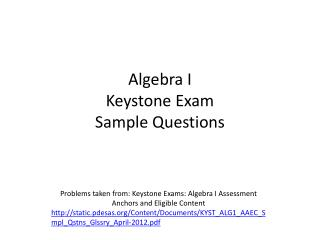 Algebra I  Keystone Exam Sample Questions
