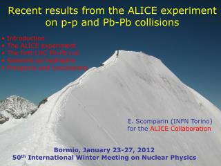 Recent results from the ALICE experiment on p-p and  Pb-Pb  collisions