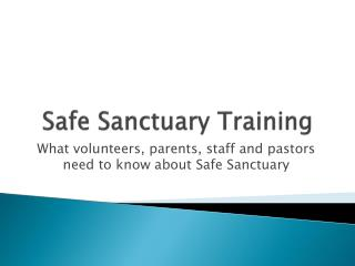Safe Sanctuary Training