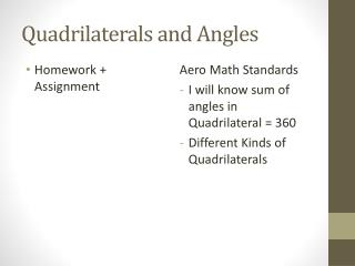 Quadrilaterals and Angles