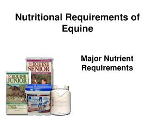 Nutritional Requirements of Equine