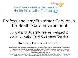 Professionalism/Customer Service in the Health Care Environment