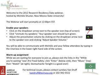 Welcome  to the 2012 Research Residency Data webinar,