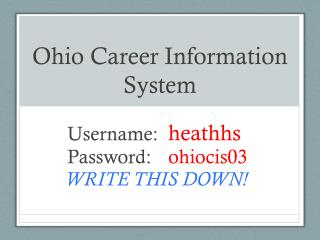 Ohio Career Information  System