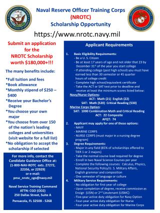 Naval Reserve Officer Training Corps (NROTC) Scholarship Opportunity