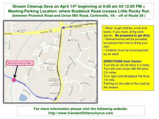 Stream Cleanup  Seva  on April 14 th  beginning at 9:00 am till 12:00 PM +