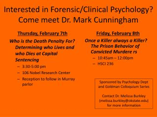 Interested in Forensic/Clinical Psychology? Come meet Dr. Mark Cunningham