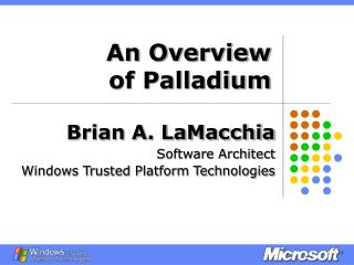 An Overview  of Palladium