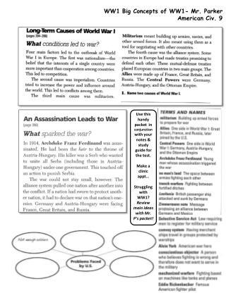 WW1 Big Concepts of WW1- Mr. Parker American Civ. 9
