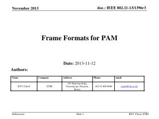 Frame Formats for PAM