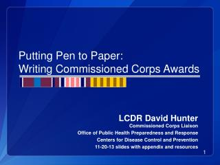 Putting Pen to Paper: Writing Commissioned Corps Awards