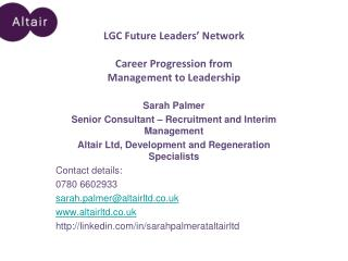 LGC Future Leaders' Network Career Progression from  Management to Leadership