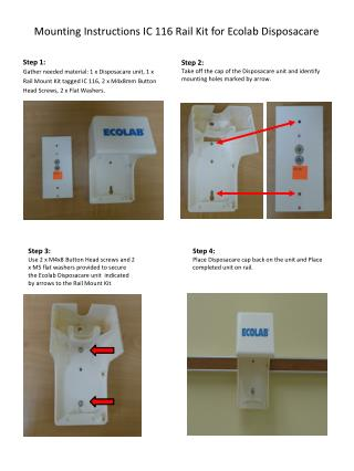 Mounting Instructions IC 116 Rail Kit for Ecolab Disposacare
