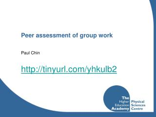 Peer assessment of group work
