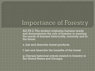 Importance of Forestry