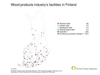 Wood products industry's facilities in Finland