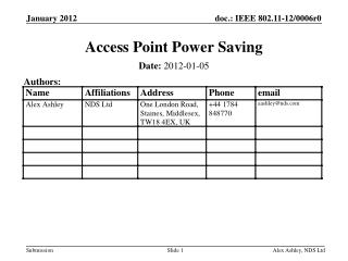 Access Point Power Saving