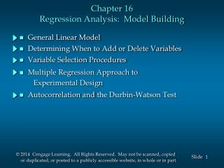 Chapter 16 Regression Analysis:  Model Building