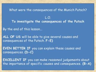 What were the consequences of the Munich Putsch? L.O.