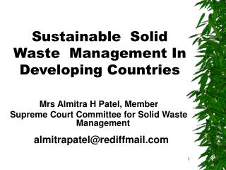 Sustainable  Solid  Waste  Management In  Developing Countries