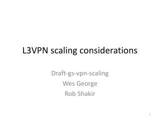 L3VPN scaling considerations
