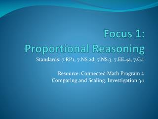 Focus 1:  Proportional Reasoning