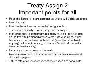 Treaty Assign 2 Important points for  all