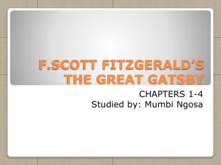 F.SCOTT FITZGERALD'S THE GREAT GATSBY