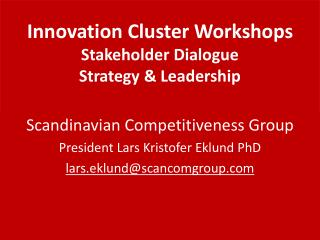 Innovation  Cluster  Workshops Stakeholder Dialogue Strategy & Leadership
