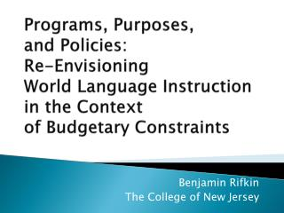 Benjamin Rifkin The College of New Jersey