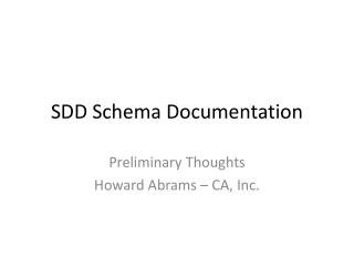 SDD Schema Documentation