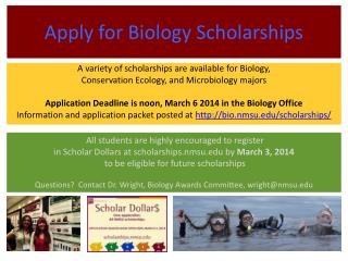 Apply for Biology Scholarships